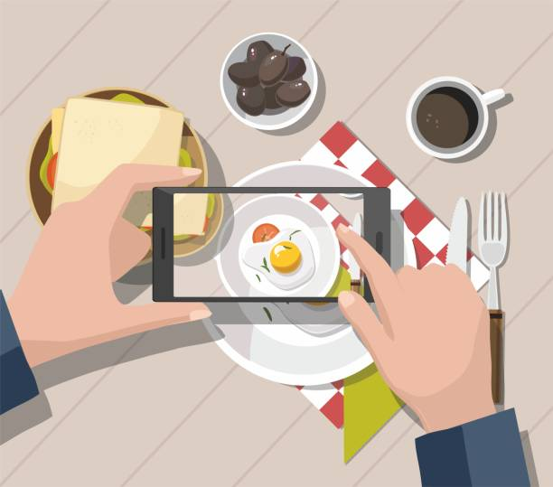 Man taking photos of food on the smartphone. Mobile photography concept. Mobile photography concept. Man taking photos of food on the smartphone. Vector Illustration female sandwich stock illustrations