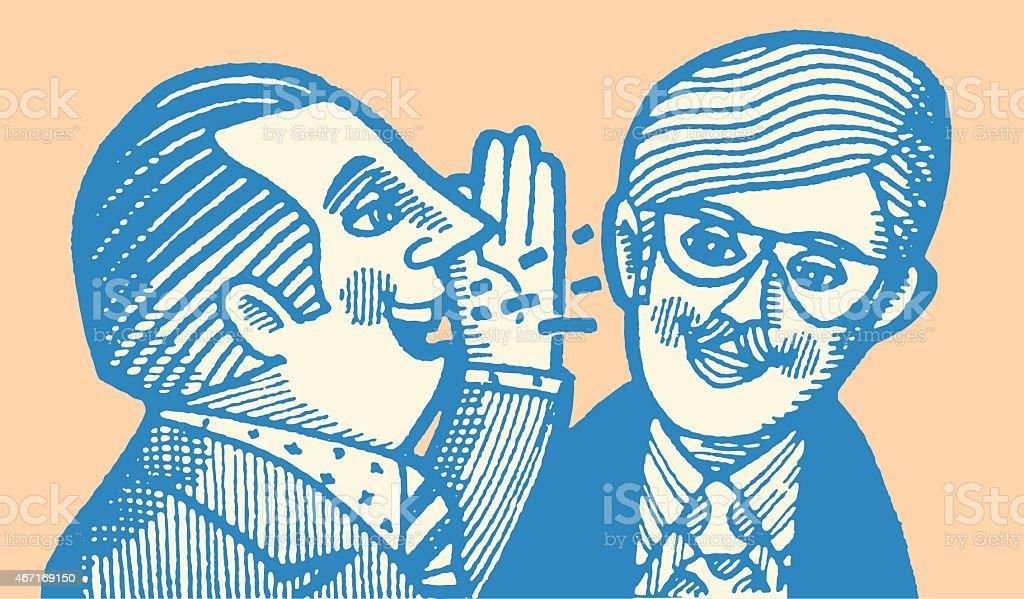 Man Talking in Other Man's Ear vector art illustration