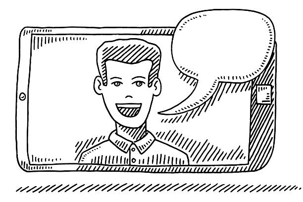Man Talking On Smart Phone Screen Drawing Hand-drawn vector drawing of a Man Talking On a Smart Phone Screen with an Empty Speech Bubble. Black-and-White sketch on a transparent background (.eps-file). Included files are EPS (v10) and Hi-Res JPG. business stock illustrations