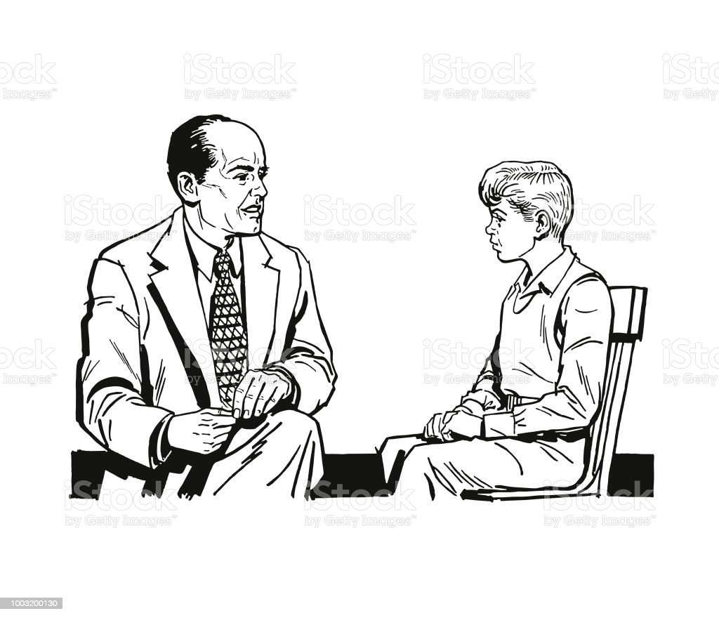 Homem falando com um garoto - Vetor de Acessório royalty-free