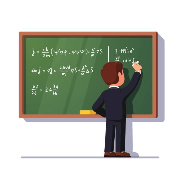 教師または生徒がクラスの黒板に書く - 数学の授業点のイラスト素材/クリップアート素材/マンガ素材/アイコン素材