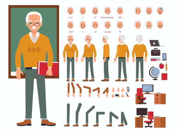 man teacher Teacher man character constructor and objects for animation.  Set of various men's poses, faces, mouth, hands, legs. Flat style vector illustration isolated on white background. one senior man only illustrations stock illustrations