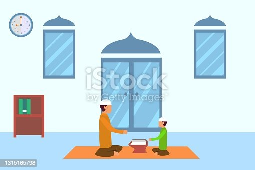 istock Man teaching the boy reciting Quran fluently 1315165798