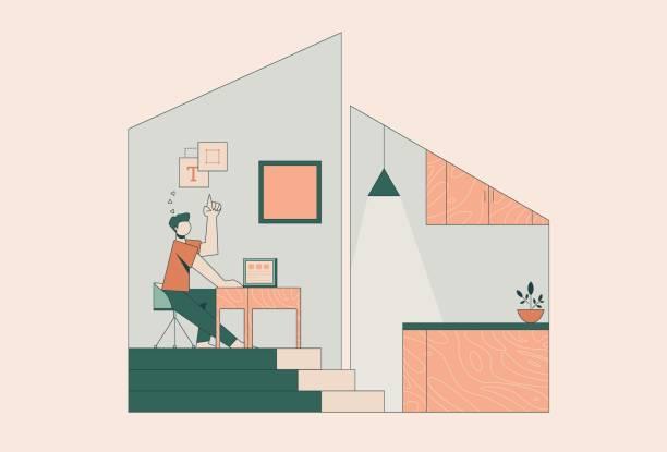 bildbanksillustrationer, clip art samt tecknat material och ikoner med man distansarbete hemifrån - arbeta köksbord man