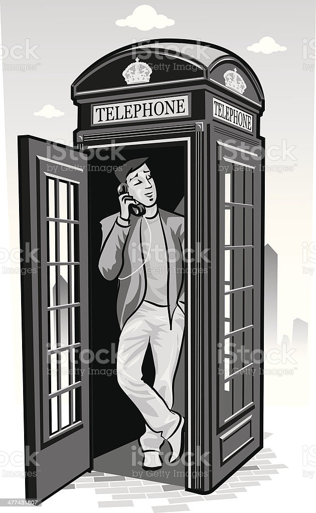 Man Telephone Box vector art illustration