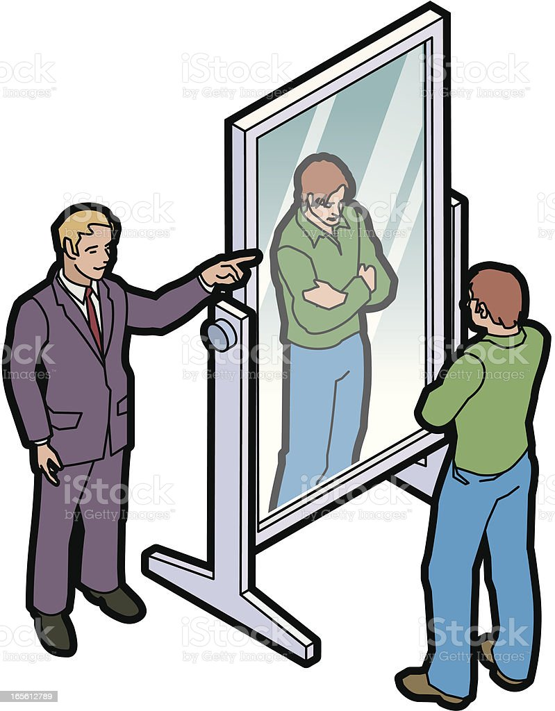 Man telling another man to look himself in the mirror royalty-free stock vector art
