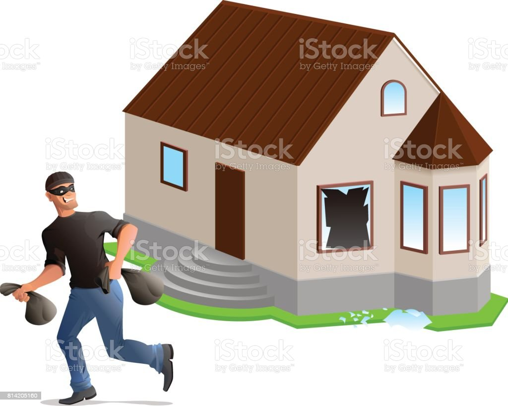 Man thief robbed house. Home insurance vector art illustration