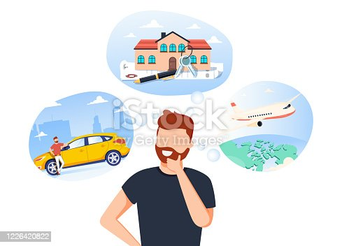 istock Man think about house, car and vaction on the sea. Male character dream about wealth. Flat vector illustration 1226420822