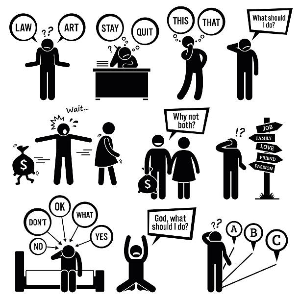 man thinking about decisions - 困惑 幅插畫檔、美工圖案、卡通及圖標