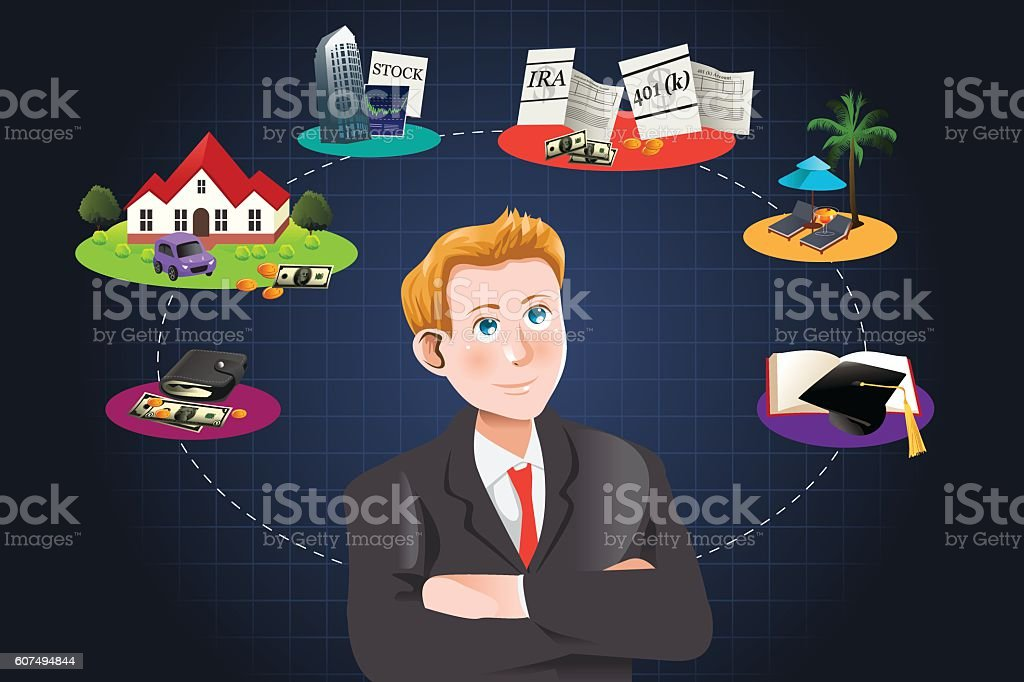 Man thinking about future financial plan vector art illustration
