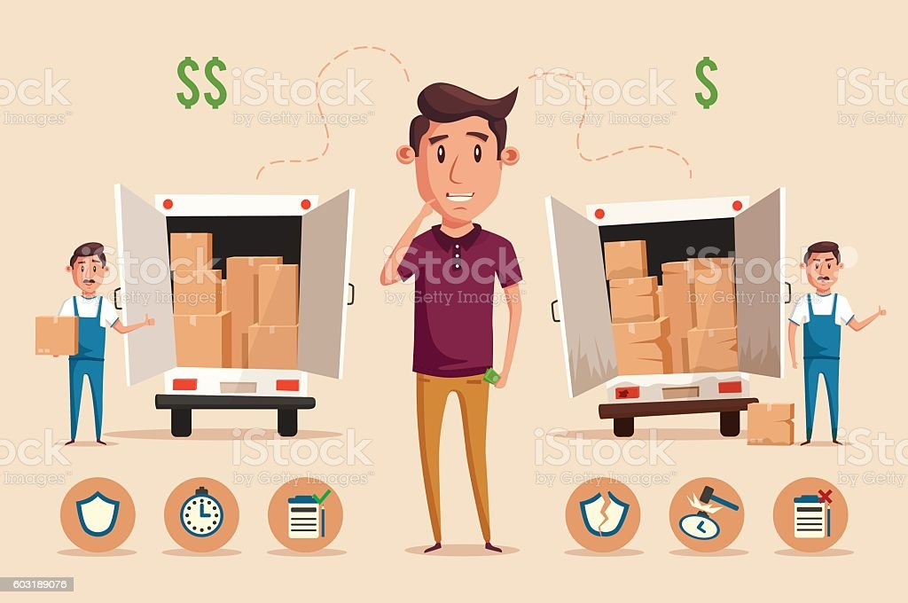 Man thinking of choice. Money for spending. Vectro cartoon illustration vector art illustration