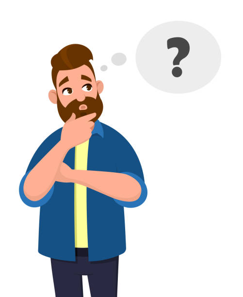 Man thinking, oh, question, doubt expression, Cartoon style illustration, Character illustrations, New idea, Thinking concept. Man thinking, oh, question, doubt expression, Cartoon style illustration, Character illustrations, New idea, Thinking concept. Vector illustration in cartoon style. confused face stock illustrations