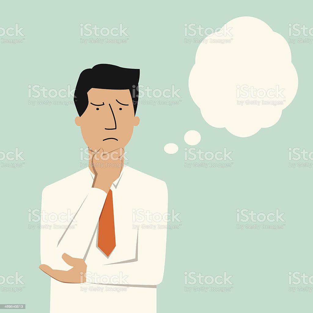 Man thinking vector art illustration