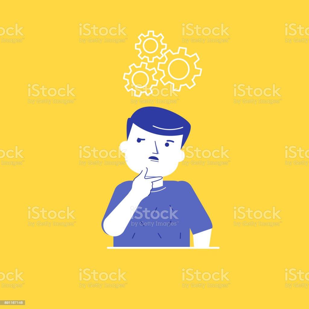 Man thinking while standing under cogwheels vector art illustration