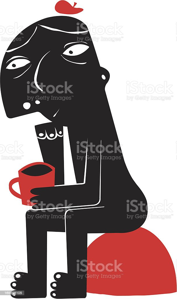 Hombre pensando con café ilustración de hombre pensando con café y más banco de imágenes de adulto libre de derechos