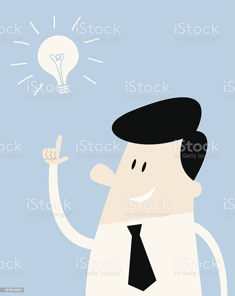 Man thinks of an idea Man with a neck tie and a lightbulb American Heart Association stock vector