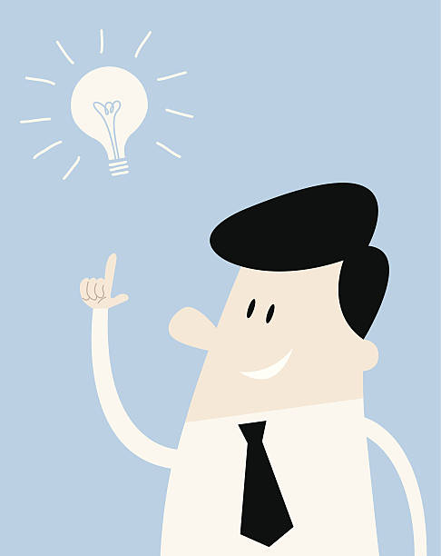 Man thinks of an idea Man with a neck tie and a lightbulb aha stock illustrations