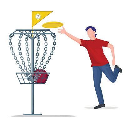 Man throwing a frisbee disc to the basket. Vector