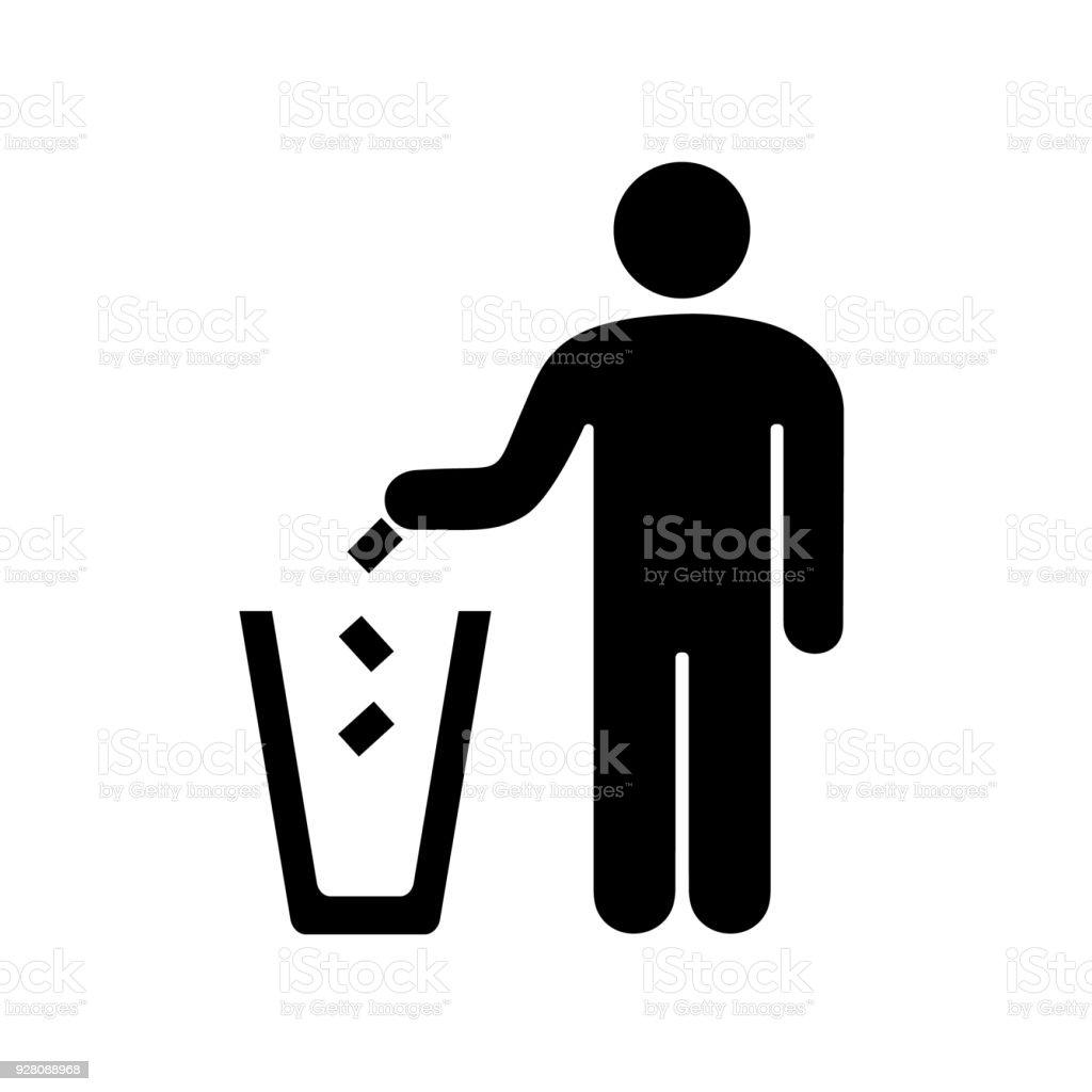 man throwing garbage in the urn vector art illustration