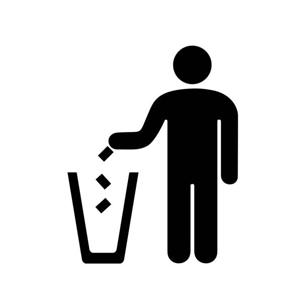 illustrations, cliparts, dessins animés et icônes de jeter les ordures dans l'urne à l'homme - dechets