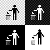 Man throwing trash into dust bin icon isolated on black, white and transparent background. Recycle symbol. Trash can sign. Vector Illustration