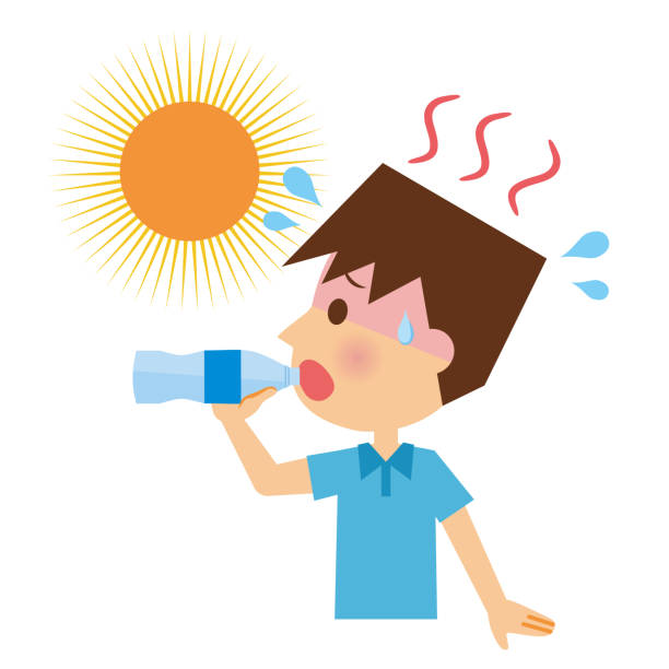 A man to prevent heat stroke. A man to prevent heat stroke. heat wave stock illustrations