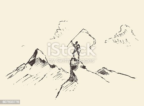 Man on top of a mountain with flag, winner concept, vector illustration, sketch.