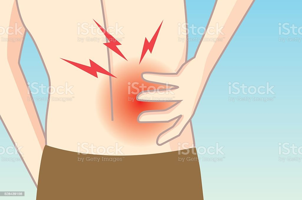 Man touching his back in pain area. vector art illustration