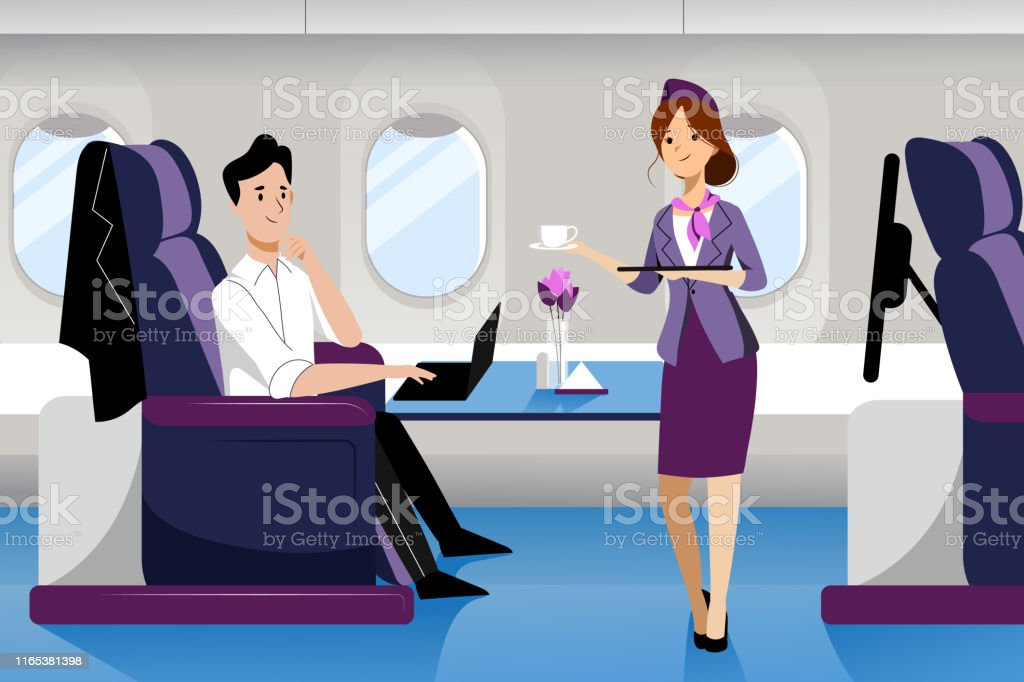 Man travel by airplane in business class. Vector flat cartoon illustration. Plane interior with comfortable seat. - Векторная графика Аэропорт роялти-фри