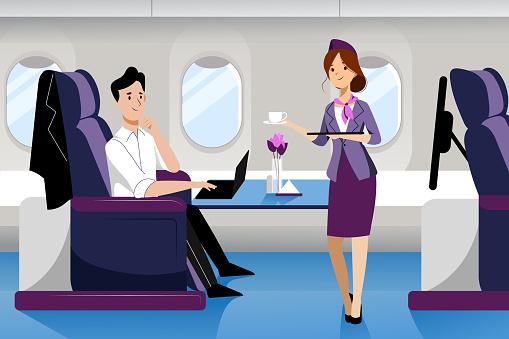 Man Travel By Airplane In Business Class Vector Flat Cartoon Illustration Plane Interior With Comfortable Seat — стоковая векторная графика и другие изображения на тему Аэропорт