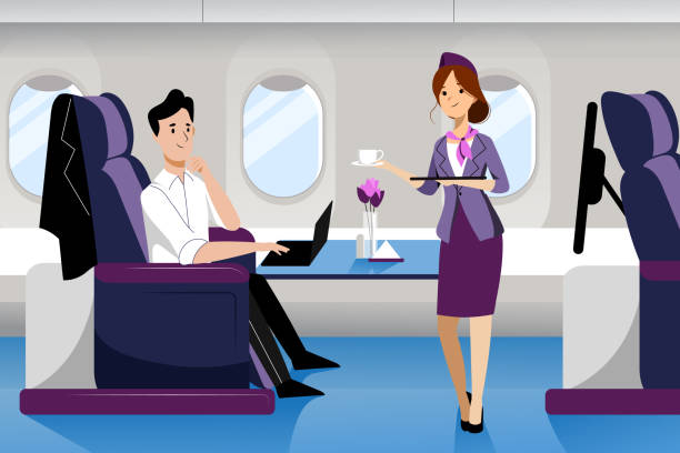 man travel by airplane in business class. vector flat cartoon illustration. plane interior with comfortable seat. - airplane seat stock illustrations