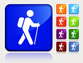 Man Travel With The Walking Stick.The icon is white and is placed on a square blue vector sticker. The button has a sight reflection and the background is light. The composition is simple and elegant. The vector icon is the most prominent part if this illustration. There are eight alternate button variations on the right side of the image. The alternate colors are orange, red, purple, maroon, light blue, green, and blue.