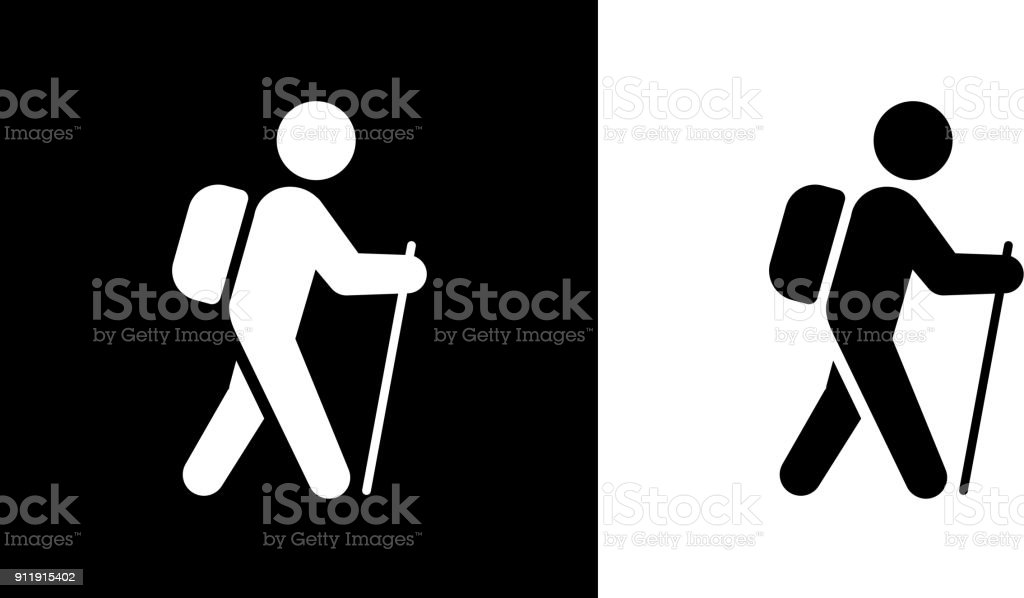 Man Travel With The Walking Stick. vector art illustration