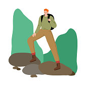 Hand drawn young man traveler standing on stones with backpack and enjoying hiking on nature over white background vector illustration. Traveling with backpack concept