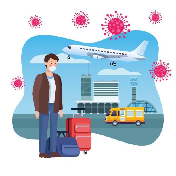 man traveler using medical mask in airport man traveler using medical mask in airport vector illustration design airport borders stock illustrations