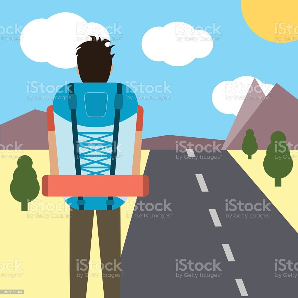 man traveling and hiking royalty-free man traveling and hiking stock vector art & more images of adventure