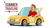 Man Travelling By Car Vector. Boy In Summer Vacation. Rides In The Car. Road Trip. Isolated Cartoon Illustration