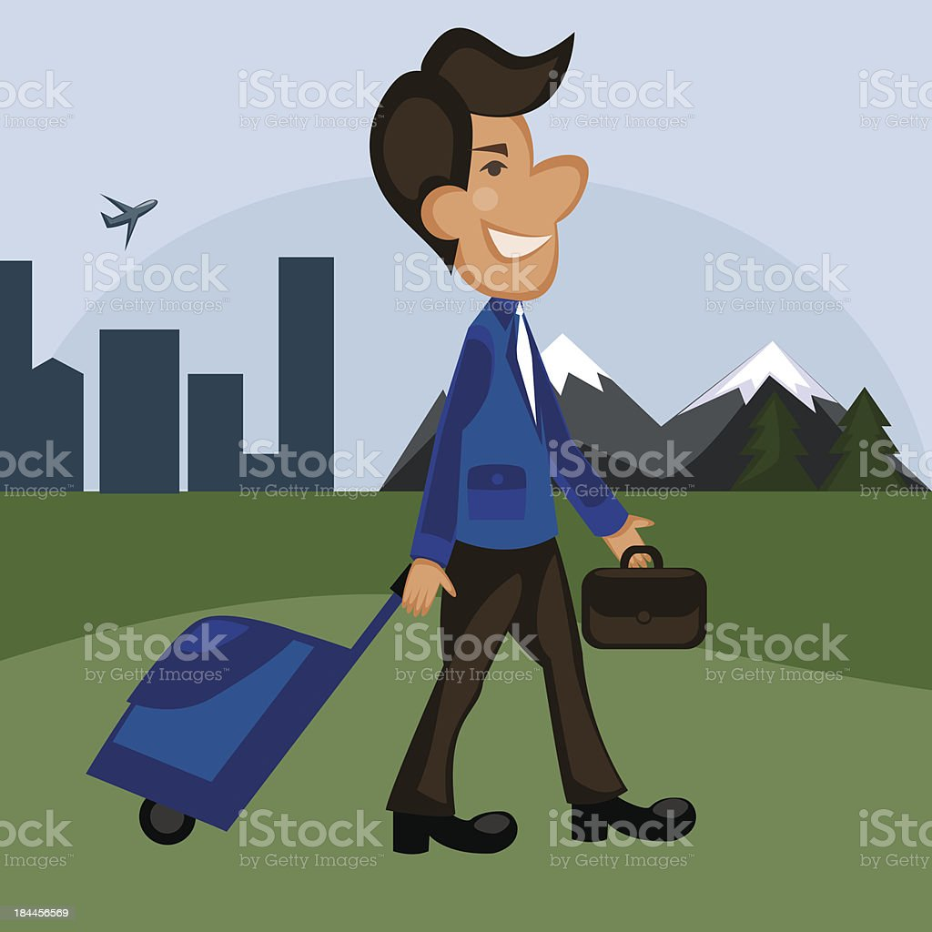 man travels, the businessman traveler royalty-free stock vector art