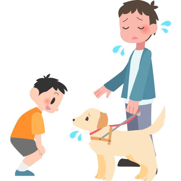 男のトラブルは、犬に話しかける ベクターアートイラスト