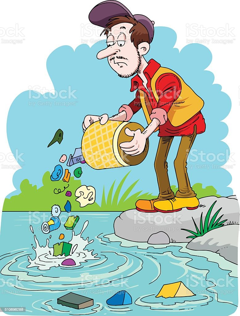 Man trowing trash in the river. vector art illustration