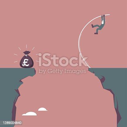 Um homem tentando adquirir riqueza no penhasco oposto, use o salto com vara.