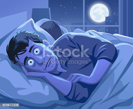 istock Man Trying To Sleep At Night 925672338