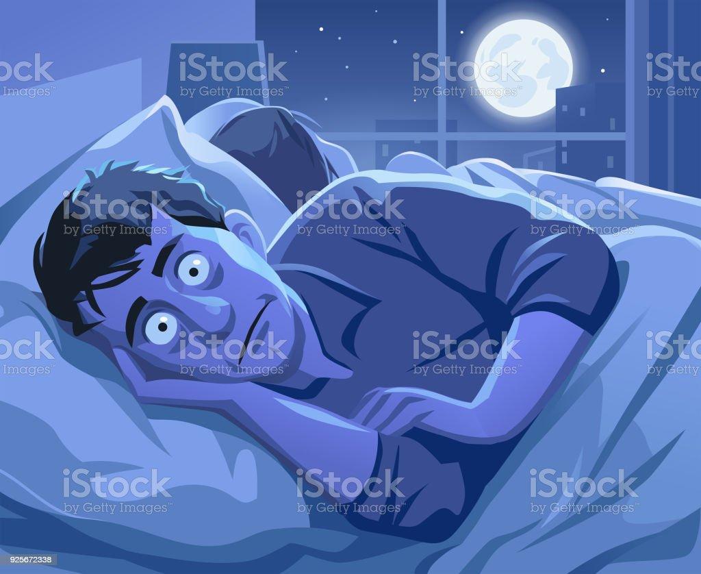 Mann versucht, Schlaf in der Nacht – Vektorgrafik