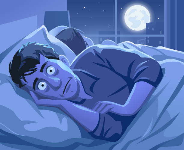 Man Trying To Sleep At Night vector art illustration