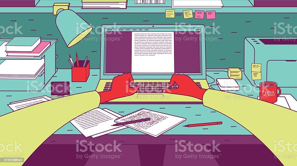 Hombre escribiendo en computadora portátil. - ilustración de arte vectorial