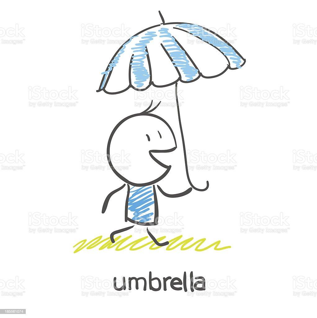 Man under an umbrella royalty-free stock vector art