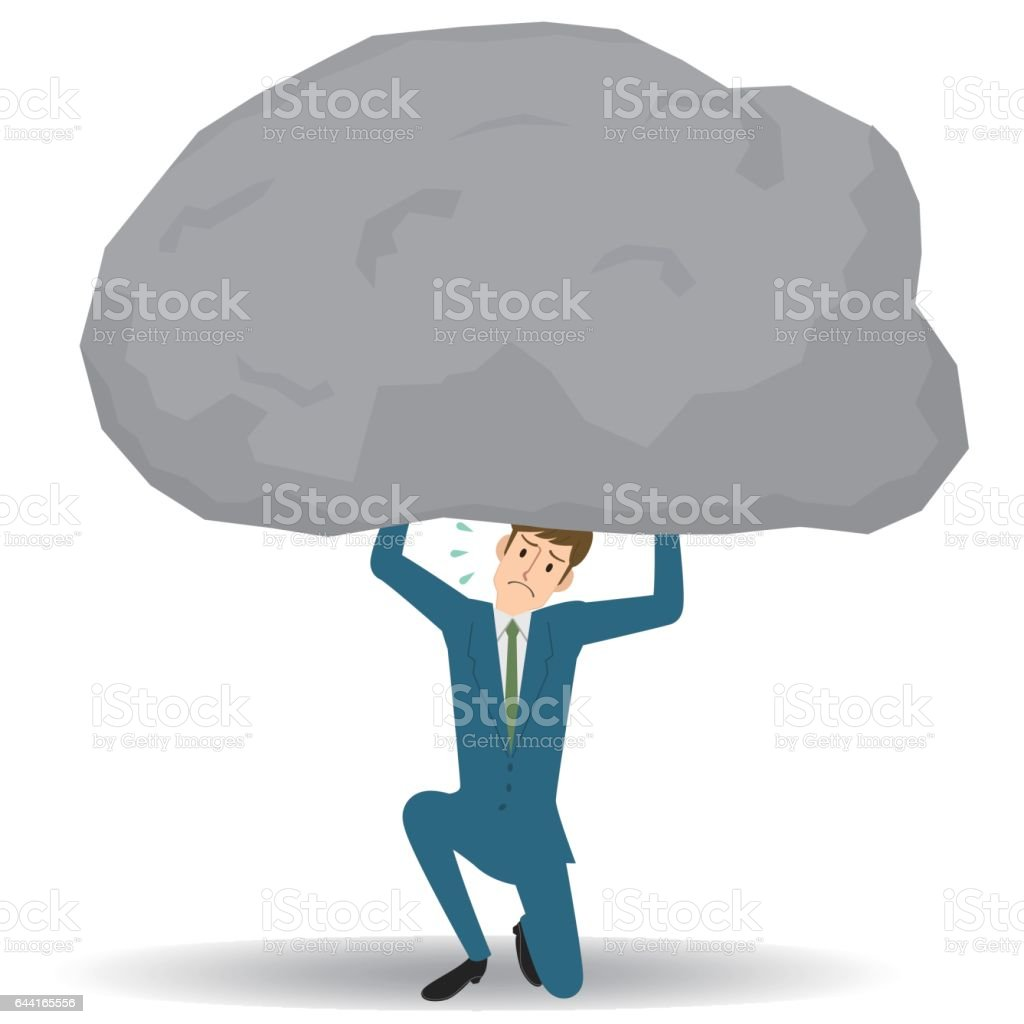 Man under the big rock vector art illustration