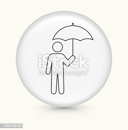 Man Under Umbrella Icon. This 100% royalty free vector illustration is featuring a round button with a drop shadow and the main icon is depicted in black. The button had a slight bevel 3D effect.