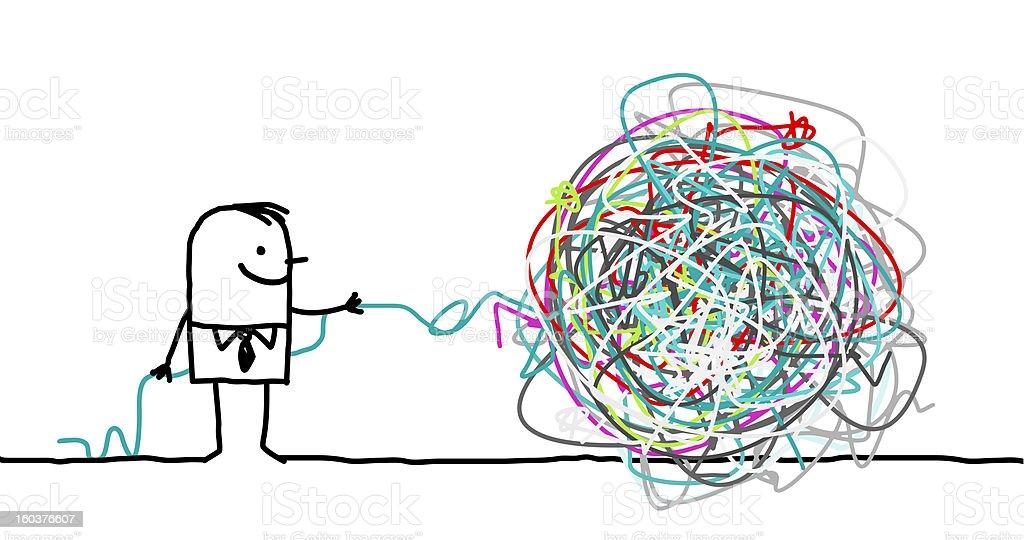 man untangle a knot royalty-free stock vector art