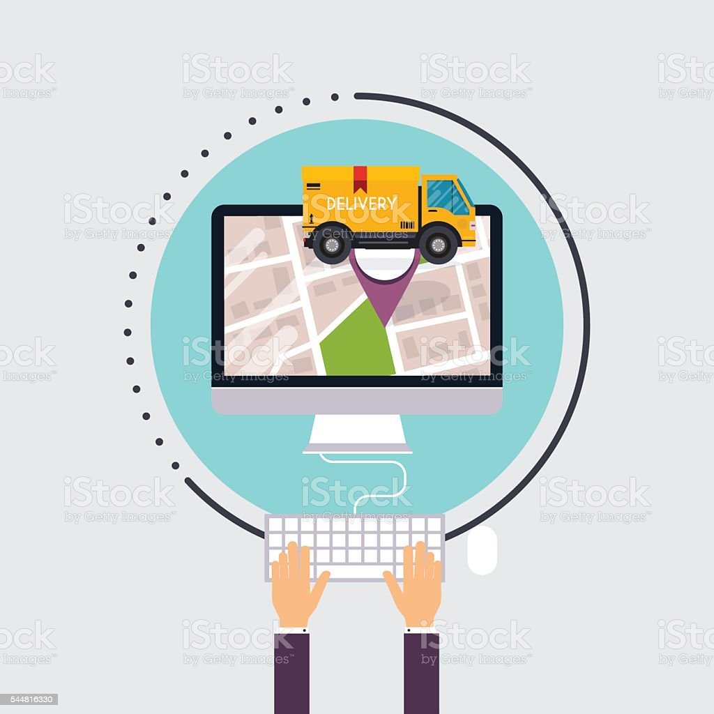 Man uses computer with app delivery tracking. Vector modern flat vector art illustration